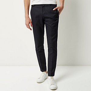 Navy textured trousers