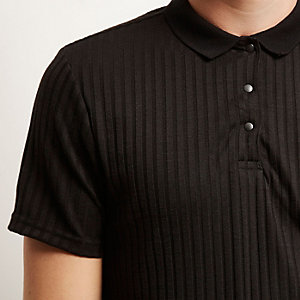 Black chunky rib polo shirt