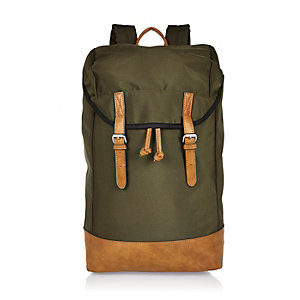 Green double strap backpack