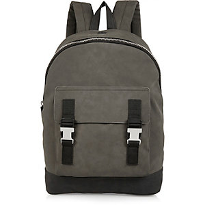 Dark green buckled backpack