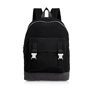 Black buckled backpack