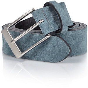 Blue suede smart belt