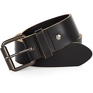 Black wide leather belt