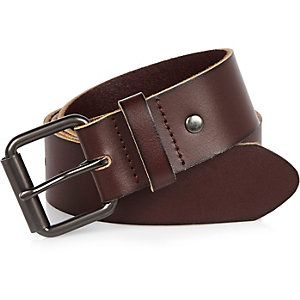 Brown wide leather belt