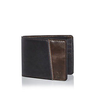 Black color block wallet