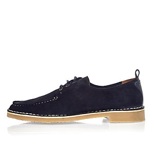 Navy suede apron toe shoes