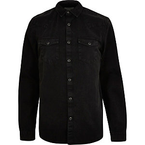 Black Western denim shirt