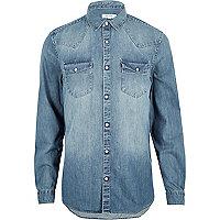 Chemise en jean bleu style western