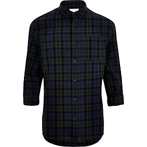Green checked linen-rich shirt