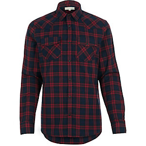 Red check flannel slim shirt
