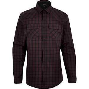 Dark red check Western shirt