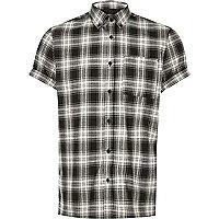 Black check short sleeve shirt
