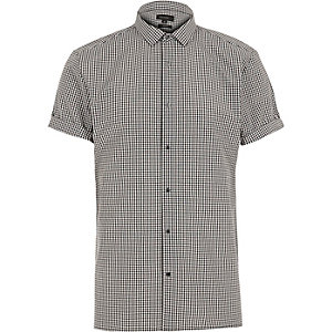 Black gingham short sleeve shirt