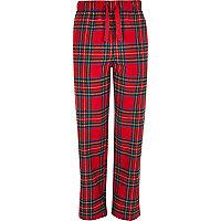 Red plaid drawstring pajama bottoms