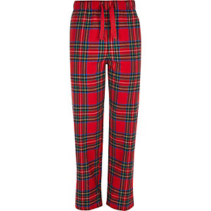 Red tartan drawstring pyjama bottoms