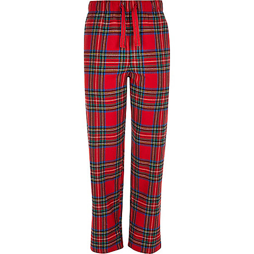 Red plaid drawstring pajama bottoms