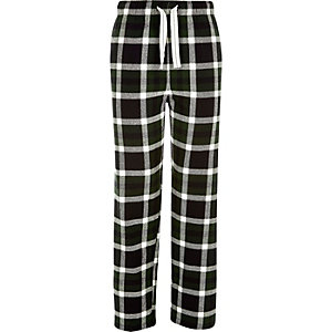 Green tartan drawstring pyjama bottoms