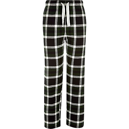 Green plaid drawstring pajama bottoms