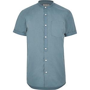 Blue twill short sleeve grandad shirt