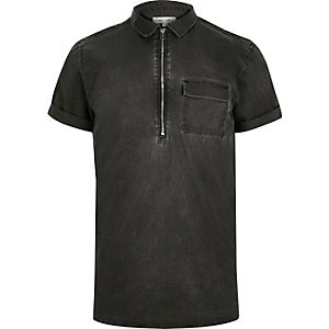 Washed grey zip neck short sleeve shirt
