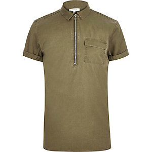 Washed green zip neck short sleeve top