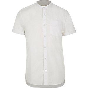 White twill short sleeve grandad shirt