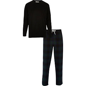 Black top and check bottoms pyjama set