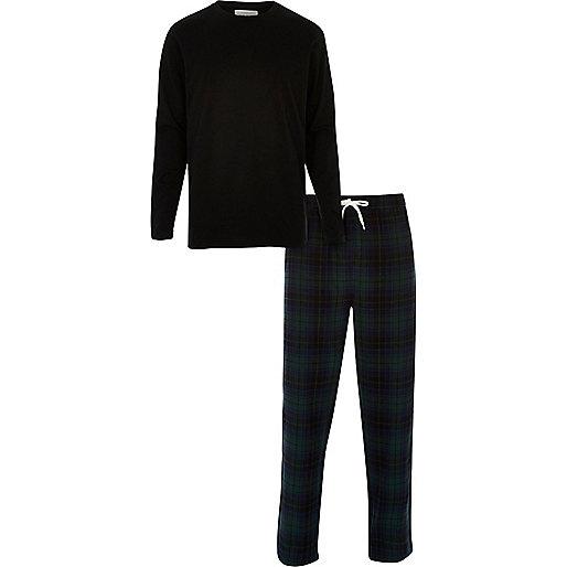 Black top and check bottoms pyjama set
