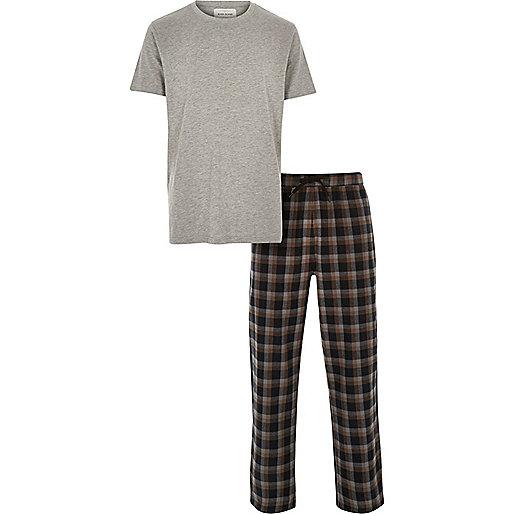 Graues T-Shirt und Hose, Karomuster, Pyjamaset
