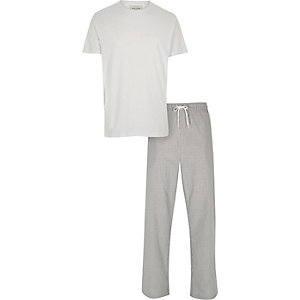 White t-shirt and bottoms pajama set