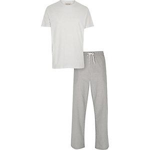 White t-shirt and bottoms pajama set