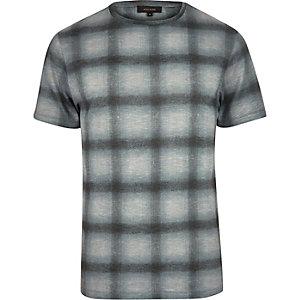 Grey grid print t-shirt