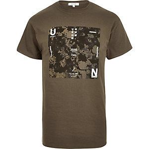 Khaki camo slogan print t-shirt