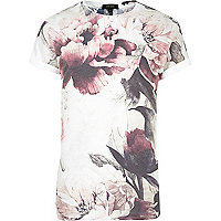 White faded floral print T-shirt