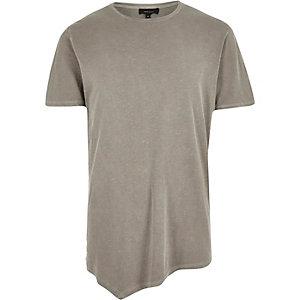 Ecru asymmetric longline t-shirt