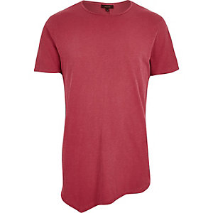 Washed red asymmetric longline t-shirt