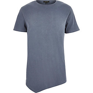 Washed blue asymmetric longline t-shirt