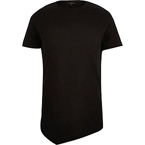 Black asymmetric longline t-shirt