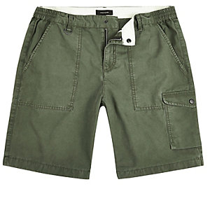 Green slim fit cargo shorts