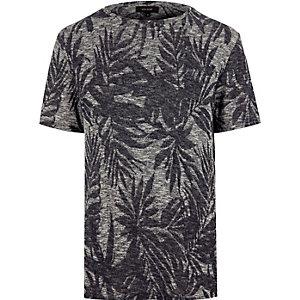 Navy floral jacquard t-shirt