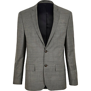 Grey checked skinny fit Travel Suit jacket