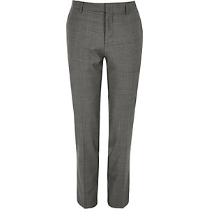 Grey checked skinny  fit Travel Suit trousers