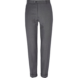 Grey textured skinny suit pants