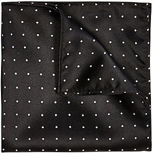 Black polka dot pocket square