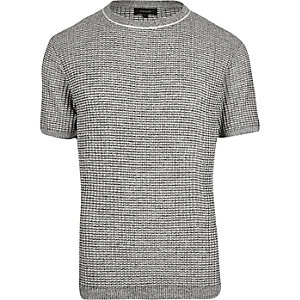 Grey knitted short sleeve slim fit sweater