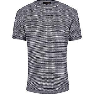Navy knitted short sleeve slim fit jumper