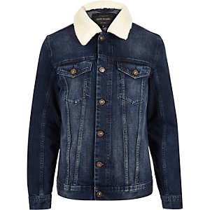 Blue denim fleece collar jacket