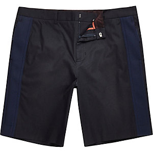 Navy Lou Dalton mesh panel shorts