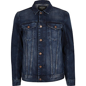 Blue fleece collar denim jacket