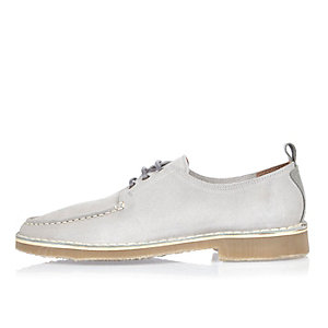 Light grey suede lace-up shoes